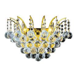 Worldwide Lighting - Worldwide Lighting W23014G16 Empire 3-Light Gold Finish Wall Sconce - Worldwide Lighting W23014G16 Empire 3-Light Gold Finish with Clear Crystal Wall Sconce