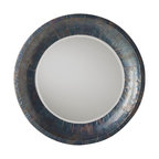 Kathy Kuo Home - Industrial Modern Oxidized Iron Wood Large Mirror - Oxidized iron, finished with an antique wax frames this masculine, modern, and earthy mirror.  From rustic to industrial, traditional to deco, this piece could work in so many styles and spaces.  Just gorgeous.