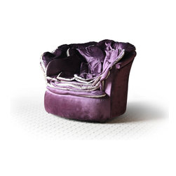 Accent Chairs - BUYS- PETAL Velour Purple Fabric Upholstery Unique Rose Petal Style Finish Accent Chair