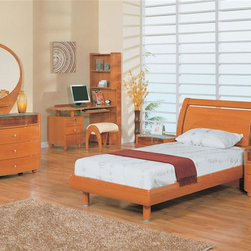 Global Furniture - 6 Pc Wood Sleigh Bedroom Set in Cherry Finish - Choose Size: Fullpopup Includes bed, 1 nightstand, single dresser, small mirror, desk and stool. Made of MDF and paper veneer. Nightstand: 24 in. W x 20 in. D x 20 in. H. Single dresser: 47 in. W x 22 in. D x 31 in. H. Small mirror: 43 in. W x 39 in. H. Desk: 56 in. W x 26 in. D x 67 in. H. Stool: 19 in. L x 15 in. W x 17 in. H (17 lbs.). Bed: . Twin: 86 in. L x 46 in. W x 41 in. H. Full: 86 in. L x 61 in. W x 41 in. H