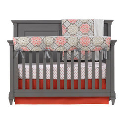 "Liz and Roo - Garden Gate Crib Bedding - This four pc. baby bedding set by Liz and Roo is a very popular coral and gray, the new colors in nursery design. The Garden Gate medallion pattern is shown on the rail teething cover and the luxe chinchilla minky (faux fur) receiving blanket. The all-cotton crib sheet is in tiny coral medallions and features a one inch elastic band that hugs the mattress. The crib skirt is solid coral with a 17"" drop that will work at all three crib heights. This exquisite baby bedding set is lovingly made one by one in the USA by our artisan seamstresses!  You'll love the quality and workmanship of American made bedding by Liz and Roo. Made in North Carolina."