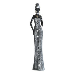 GSC - 16.75 Inch African Lady In Silver Dress Figurine - This gorgeous 16.75 Inch African Lady In Silver Dress Figurine has the finest details and highest quality you will find anywhere! 16.75 Inch African Lady In Silver Dress Figurine is truly remarkable.