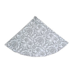 Chooty & Co. - Chooty and Co Abigail Storm Tree Skirt Multicolor - TS534003 - Shop for Holiday Ornaments and Decor from Hayneedle.com! An elegant damask pattern gives the Chooty and Co Abigail Storm Tree Skirt enduring style. A dashing way to dress your Christmas tree this skirt features a sophisticated gray and white color palette. It's 53-inches in diameter and is made of 100% natural cotton. Your tree skirt should be hand- or spot-cleaned to keep its beauty.About Chooty & Co.A lifelong dream of running a textile manufacturing business came to life in 2009 for Connie Garrett of Chooty & Co. This achievement was kicked off in September of '09 with the purchase of Blanket Barons well known for their imported soft as mink baby blankets and equally alluring adult coverlets. Chooty's busy manufacturing facility located in Council Bluffs Iowa utilizes a talented team to offer the blankets in many new fashion-forward patterns and solids. They've also added hundreds of Made in the USA textile products including accent pillows table linens shower curtains duvet sets window curtains and pet beds. Chooty & Co. operates on one simple principle: What is best for our customer is also best for our company.