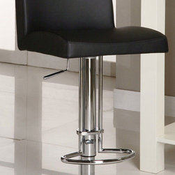 """Chintaly Imports - Adjustable Height Swivel Stool - Black - Features: Hydraulic Seat; Constructed for Home or Commercial Usage; Base and bucket fully welded; Some assembly may be required; Frame Finish: Brushed Stainless Steel and Chrome; Black PVC Seat; Seat Adjusts From 21-1/2"""" - 29"""" High; Dimensions: 16""""W x 15""""D x 42""""H"""