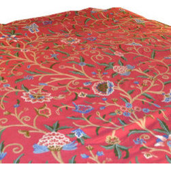 Crewel Fabric World - Crewel Bedding Tree of Life Pinkish Red Queen Duvet - Inspiration : Tree of life is inspired by the mystical concept alluding to the interconnectedness of all life on our planet.