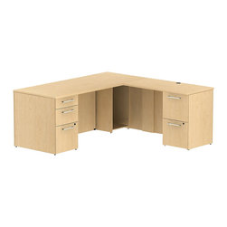"Bush - Bush 300 Series 72"" L-Shape 2-Pedestal Desk Set in Natural Maple - Bush - Commercial Grade Office - 300S025AC - Transitional, classic styling fits ideally in any residential, commercial or office environment with the Bush Natural Maple 300 Series 72""W x 30""D Single Pedestal L-Desk (B/B/F) with 42""W Return (F/F). Larger top surface and return offer plenty of workspace. Two box drawers and one file drawer in the pedestal store files or office supplies. The 42"" Return features two file drawers on fully extendable drawer slides for easy access to back. All file drawers accommodate letter- legal or A4-size files. Wire grommets control unsightly cords and cables, keeping desk and return surfaces clutter-free. Return complements the desk and offers additional storage at your fingertips. Rich, Mocha Cherry finish fits beautifully in executive spaces. Tough, rugged work surfaces resist scratching, stains, dings and dents, looking good for years. Includes BBF Limited Lifetime warranty."