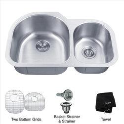 Kraus - Kraus 32 inch Undermount Double Kitchen Sink - Add an elegant touch to your kitchen with a unique and versatile undermount sink from Kraus