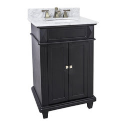 "Hardware Resources - Lyn Design VAN057-T-MW - This 24"" wide MDF vanity features a sleek black finish, clean lines and tapered feet to give a modern feel. A perfect alternative to a pedestal sinks. A large cabinet provides storage. This vanity has a 2CM white marble top preassembled with an H8809WH (15"" x 12"") bowl, cut for 8"" faucet spread, and corresponding 2CM x 4"" tall backsplash. Overall Measurements: 24"" x 22"" x 36"" (measurements taken from the widest point)"