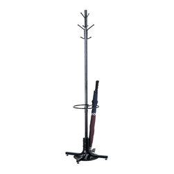 """Safco - Safco Black Standing Coat Rack with Umbrella Stand - Safco - Coat Racks - 4168BL -Provide guests with the welcoming convenience of this office coat rack. The Safco freestanding costumer features four double hooks that securely hold up to eight garments and its steel hooks have ball tips to prevent damage to garments. An additional umbrella stand with drip tray adds further practicality. Wide 21"""" base provides stability."""