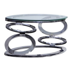 None - Disc Coffee Table with Glass Top - Add a modern appeal to your home decor with this unique disc coffee table. Finished in a nickle plated stainless steel,this subtle coffee table would be the perfect addition to any room.