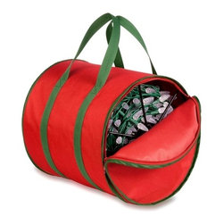 Storage Reels And Bag - red polyester storage reels and bag, coated interior - has canvas feel on exterior