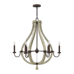 Frederick Ramond - Fredrick Ramond Middlefield 6-Light Chandelier - Middlefield's rustic chic design captures a historical feel with its solid distressed wood and steel construction. A pear-shaped wood finial adds an additional elegant detail and may be hung inside or outside the frame.