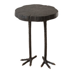 Global Views - Ostrich Table - Iron ostrich legs and a wood cut faux bois top make this little side table a whimsical conversation piece.