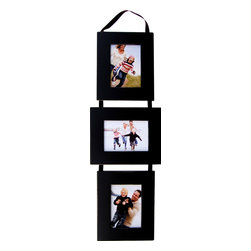 """MyBarnwoodFrames - 3 Opening Collage Picture Frame Set, Black Frames on Ribbon, 5""""x7"""" - Collage  Picture  Frame  Set-  Three  5x7  Basic  Black  Frames  on  Ribbon          Your  nursery,  child's  bedroom,  or  family  room  deserves  a  photo  display  this  adorable!  Our  multi-opening  frames,  shown  here  in  basic  black  make  a  unique  wall  display  or  the  perfect  gift.  Three  individual  wood  frames  are  connected  by  a  hanging  ribbon.  Just  drape  the  ribbon  over  a  decorative  wall  hook  or  coat  hook.          A  unique  collage  frame  that  allows  you  to  display  three  5x7  photos  at  once,  each  with  a  different  orientation.  This  unique  configuration  accommodates  two  portrait  (vertical)  and  one  landscape  (horizontal)  photo  all  in  the  same  multi  photo  grouping.  All  three  5x7  frames  are  suspended  from  a  black  hanging  ribbon.  Hand  distressed  edges."""