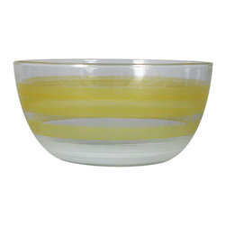 """Retro Stripe Orange 6"""" Bowl - This lovely hand painted 6"""" bowl is painted in a retro style.  It is orange with accent colors.  Perfect for any season or any occasion. It also works perfectly as a dessert dish or sold bowl. Perfect for the Holidays or any season.  Something to be handed down from generation to generation.  Proudly hand painted in the USA."""