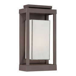 Quoizel - Quoizel PWL8309WT Powell 1 Light Outdoor Wall Lights in Western Bronze - Long Description: Enhance the exterior of your home with this unique and unadorned Powell collection. The shadowbox is striking in a western bronze finish and is contrasted beautifully by the rectangular white art glass.