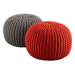 knitted grey pouf - knit one, purl two. Accent round layers on sweater in chunky hand-knit grey. Dense pellet fill is substantial for seat/ottoman duty. 100% cotton cover.- Handknit beanbag chair/foot rest- Textured cotton weave- Spot clean- Made in India- See dimensions below