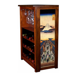 "Kelsey's Collection, Inc. - Hiroshige Wine Cabinet Suruga-Cho - Pine Wine Cabinet  stores wine and glassware with famous artwork by Ukiyoye artist Aldo Hiroshige giclee-printed on canvas side panels. The art is giclee printed on canvas with three coats of UV inhibitor to protect against the sunlight and thereby extend the longevity of the art. The canvas is then glued onto panels and inserted into the frames. Kelsey's Wine Cabinet showcases and stores wine and glassware with solid radiata pine construction. Famous artwork is giclee-printed on canvas side panels which provide a unique decorating touch of art that enhances the product and reflects your home-decor style.  The frame, top, and racks are solid New Zealand radiata pine with a hand stained and hand rubbed rubbed medium reddish brown finish, that is then protected with a  lacquer coat and top coat.. Kelseys Collection is where ""Great Art & Function Meet""  This model is also referred to as the Jessica model. Dimensions are 33 by 22 by 12 deep.  Holds 15 wine bottles and full sized wine glasses.  Some assembly required."
