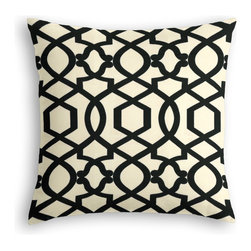 Black Velvet Flocked Trellis Custom Throw Pillow - The every-style accent pillow: this Simple Throw Pillow works in any space.  Perfectly cut to be extra fluffy, you'll not only love admiring it from afar but snuggling up to it too!  We love it in this black velvet flocked trellis in on cream cotton that adds subtle texture & warmth to your room.