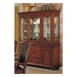 Winners Only - Ashford 2-Door Buffet w Mirror-Back Hutch Set - Traditional style. Three drawers and two doors buffet. One double glass door and single door hutch. Two glass shelves. 68 in. W x 18 in. D x 84 in. H (450 lbs.)