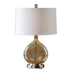 Uttermost - Arielli Amber Glass Lamp - Get glowing with the warm, ambient light cast by this lamp. The base is made of crackled amber glass that's accented with silver-leaf details. It's topped with a hardback linen shade for a traditional touch, making it a good choice for formal areas in your home.