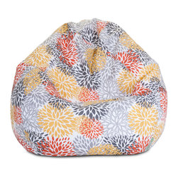Majestic Home - Outdoor Citrus Blooms Small Bean Bag - A great addition to any family room, playroom or outdoor seating arrangement, the Majestic Home Goods Small Bean Bag allows your child to read or watch a favorite show in the utmost comfort. Generously filled with eco-friendly polystyrene beads, this chair easily forms to your child's body for an ergonomic lounging experience. This bean bag has an outdoor treated polyester slipcover, with up to 1000 hours of U.V. protection that zips off for easy cleaning.