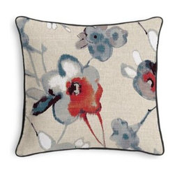 Red, Blue & Flax Painted Floral Custom Throw Pillow - Black and white photos, Louis XIV chairs, crown molding: classic is always classy. So it is with this long-time decorator�۪s favorite: the Corded Throw Pillow. We love it in this red and blue painterly floral on thick natural cotton ground makes for a modern yet rustic focal point for any room.