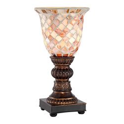 """Lamps Plus - Traditional Mosaic Ivory Glass Uplight Accent Lamp - Glass accent lamp. Ivory mosaic design. Polyresin base construction. In-line switch. Maximum 40 watt or equivalent bulb (not included). Glass shade is 5 1/2"""" wide and 6"""" high. 12"""" high.  Glass accent lamp.   Ivory mosaic design.   Polyresin base construction.   In-line switch.   Maximum 40 watt or equivalent bulb (not included).   Glass shade is 5 1/2"""" wide and 6"""" high.   12"""" high."""