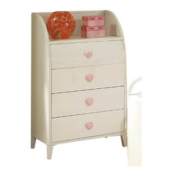 """Coaster - Bookshelf (Sandy Yellow/Pink) By Coaster - Add this Chest to your daughters room for a space efficient way to provide organization and style. Four equal sized drawers are a perfect place to store toys, books, or even additional clothes or socks! The entire chest is finished with a lovely, white finish and accentuated with a delicate pink heart-shaped knob on each drawer. Adding to feminine feel of this chest is a curved top that pronounces the top shelf. What a lovely, storage piece for those small confided spaces! Features: White Finish Casual style Tapered thin legs, clean and crisp lines and edges. Four Drawers with Top Shelf Pink heart shaped knobs on drawer fronts Specifications: Overall product dimensions: 30""""W x 33.25""""H x 13.75""""D"""