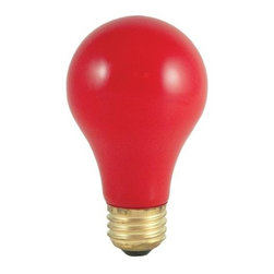 Bulbrite - Standard Ceramic Light Bulbs w Red Shade - 24 - Choose Wattage: 40wOne pack of 24 Bulbs. 120 V incandescent E26 base A19 type bulb. 360 degree beam spread. Dimmable. Fade-resistant coating. Heat resistant thermal paint to emit the most vibrant colors. Great for adding a touch of color to any fixture. Color temperature: 2700 K. Color rendering index: 100. Average hours: 2500. Maximum overall length: 4.25 in.