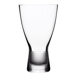 Bomma - Vizner 13.5 oz Crystal Water Glass - Set of 2 - Set of 2 - The Vizner 13.5 ounce crystal water glass has an intricate triangle design around its handle. The Amour collection was designed by Franisek Vizner, one of the greatest figures of Czech glass art and author of a unique collection that bears his name. Designed from the concept of clean architectural shape lines and perfect craftsmanship of fine lace decor. Both approaches emphasize the clarity of the crystal and its extraordinary light refraction. The thick base of some of the glasses enhances the ergonomic function and create impressive light interplay when filled with liquids.