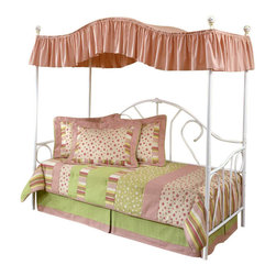 Hillsdale Furniture - Bristol Canopy Daybed in White Finish - Enjoy this enchanting white daybed and canopy at a price too good to miss! Nostalgic metal daybed is ideal for added seating and sleeping in a guestroom or kids's room. The graceful shaped back is accented with scroll detail. Link-spring unit included. Little princesses will enjoy the luxurious comfort this canopy daybed offers. * Includes side and back panels, canopy and suspension deck. Mattress not included. Elegant curved scroll design. Made of fine metal. 40 in. W x 3 in. D x 77.5 in. HEnjoy this enchanting white daybed and canopy at a price too good to miss! Nostalgic metal daybed is ideal for added seating and sleeping in a guestroom or kid's room. The graceful shaped back is accented with scroll detail. A classic style bed with a traditionally designed silhouette that will remain in vogue for years to come and make any little's girl room into her own princess chamber.