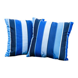 """Great Deal Furniture - Lorie Blue Striped 17"""" Outdoor Accent Pillow (Set of 2) - Accessorize your home with these Lorie blue striped pillows. Upholstered in Sunbrella woven fabric, a durable weather resistant material, these colorful chic accent pillows are a great option to add flare and comfort to your home. Use them indoors or to accessorize your outdoor seating set."""