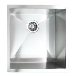 """Ariel - 19 Inch Stainless Steel Undermount Single Bowl Kitchen / Bar / Prep Sink - Handmade from 16-gauge stainless steel, this single bowl sink will take care of your bar area or kitchen needs. Exterior Dimensions 19"""" x 20"""" x 10"""". Interior Dimensions 17"""" x 18"""" x 10""""."""