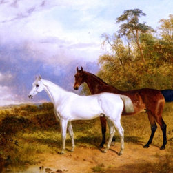 """James Walsham Baldock A Bay and Grey Horse in a Landscape Print - 18"""" x 24"""" James Walsham Baldock A Bay and Grey Horse in a Landscape premium archival print reproduced to meet museum quality standards. Our museum quality archival prints are produced using high-precision print technology for a more accurate reproduction printed on high quality, heavyweight matte presentation paper with fade-resistant, archival inks. Our progressive business model allows us to offer works of art to you at the best wholesale pricing, significantly less than art gallery prices, affordable to all. This line of artwork is produced with extra white border space (if you choose to have it framed, for your framer to work with to frame properly or utilize a larger mat and/or frame).  We present a comprehensive collection of exceptional art reproductions byJames Walsham Baldock."""