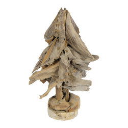 Foreign Affairs Home Decor - Teak Christmas Tree NATAL; Made from recycled teak wood. Large. - Unique Christmas tree made from recycled teak wood.