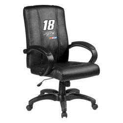Dreamseat Inc. - Kyle Busch #18 NASCAR Home Office Chair - Check out this Awesome - it's one of the coolest things we've ever seen. Features a zip-in-zip-out logo panel embroidered with 70,000 stitches. Converts from a solid color to custom-logo furniture in seconds - perfect for a shared or multi-purpose room. Root for several teams? Simply swap the panels out when the seasons change. This is a true statement piece that is perfect for your Man Cave or Home Office, and it's a must-have for the person who wants to personalize their work space.