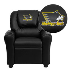 "Flash Furniture - Michigan Technological University Huskies Black Leather Kids Recliner with Cup H - Get young kids in the college spirit with this embroidered college recliner. Kids will now be able to enjoy the comfort that adults experience with a comfortable recliner that was made just for them! This chair features a strong wood frame with soft foam and then enveloped in durable leather upholstery for your active child. This petite sized recliner is highlighted with a cup holder in the arm to rest their drink during their favorite show or while reading a book. Michigan Technological University Embroidered Kids Recliner; Embroidered Applique on Oversized Headrest; Overstuffed Padding for Comfort; Easy to Clean Upholstery with Damp Cloth; Cup Holder in armrest; Solid Hardwood Frame; Raised Black Plastic Feet; Intended use for Children Ages 3-9; 90 lb. Weight Limit; CA117 Fire Retardant Foam; Black LeatherSoft Upholstery; LeatherSoft is leather and polyurethane for added Softness and Durability; Safety Feature: Will not recline unless child is in seated position and pulls ottoman 1"" out and then reclines; Safety Feature: Will not recline unless child is in seated position and pulls ottoman 1"" out and then reclines; Overall dimensions: 24""W x 21.5"" - 36.5""D x 27""H"