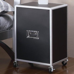 Coaster - Leclair Cabinet w Casters - Contemporary style. Metal handle pull hardware. Black color. 17.25 in W x 15.5 in. D x 25.75 in. H. WarrantyAdd a multi-functional storage unit to the youth bedroom in your home with this sleek cabinet. This storage piece is a sleek and contemporary addition to your home.