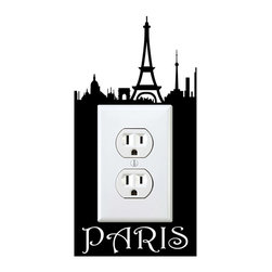 StickONmania - Outlet Paris Sticker - a vinyl decal sticker to decorate a wall outlet.  Decorate your home with original vinyl decals made to order in our shop located in the USA. We only use the best equipment and materials to guarantee the everlasting quality of each vinyl sticker. Our original wall art design stickers are easy to apply on most flat surfaces, including slightly textured walls, windows, mirrors, or any smooth surface. Some wall decals may come in multiple pieces due to the size of the design, different sizes of most of our vinyl stickers are available, please message us for a quote. Interior wall decor stickers come with a MATTE finish that is easier to remove from painted surfaces but Exterior stickers for cars,  bathrooms and refrigerators come with a stickier GLOSSY finish that can also be used for exterior purposes. We DO NOT recommend using glossy finish stickers on walls. All of our Vinyl wall decals are removable but not re-positionable, simply peel and stick, no glue or chemicals needed. Our decals always come with instructions and if you order from Houzz we will always add a small thank you gift.