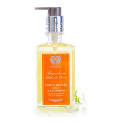 Orange Blossom, Lilac & Jasmine Bath and Shower Wash 10 oz. - Take a moment as you bathe or shower and simply breathe; it's a relaxing ritual that's easy to remember when surrounded by soft bubbles of Orange Blossom, Lilac, and Jasmine Bath and Shower Wash.  Ending a long day or beginning a fresh one with these classic spring-flower aromas invites enjoyment of the innocent blooms, and a deeply moisturizing formula lets the scent faintly surround you even once you're dry.