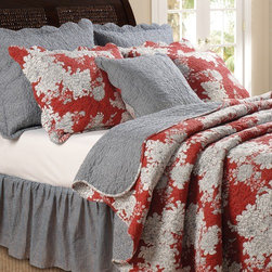 "Greenland Home Fashions - Lorraine Bonus Quilt Set - Update your bedroom décor with the Lorraine 100% cotton quilt set. Festooned with flower blossoms outlined in black on a rich red ground, the Lorraine quilt and shams add energy and style to any living space. Reveres to a coordinating black-and-white gingham check for a look that is both modern and retro. Oversized for better coverage on todays deeper mattresses. Features: -Each Bonus set includes quilt, two pillow shams (one sham per Twin set), plus two coordinating decorative pillows (one decorative pillow per Twin set). -Available in Twin, Full / Queen or King size. -Twin set includes quilt, one standard sized sham and one coordinating decorative pillow. -King and Full / Queen sets includes quilt, two king/queen sized shams and two coordinating decorative pillows. -Material: 100% Cotton. -Machine washable. -Twin Bonus Set 68""x88"" + 20""x26"" + 18x18"". -Full/Queen Bonus Set 90""x90"" + 20""x26"" (2) + 18""x18"" (2). -King Bonus Set 105""x95"" + 20""x36"" (2) + 18""x18"" (2)."