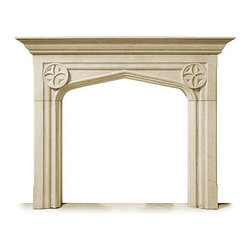 Fireplace Collection - The Tudor - This carved stone fireplace and mantel design is from 16th century England. The Tudor design shows a characteristic arched fireplace opening, spanned with a simple mantel with two elegant rosettes on either side.