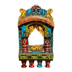 "Sierra Living Concepts - Taj Mahal Multi Color Wooden Wall Key Holder - You'll never lose your keys again with our bright and colorful Taj Mahal Wall Key Organizer. The 5.5"" by 10"" decorative key hanger is made with solid mango wood, a tropical wood grown as a sustainable crop.  The hand crafted key holder is hand painted and filled with lots of fun details.  The key rack has four hooks. Make a fun house warming, hostess or holiday gift."