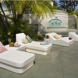 La-Fete - Resort Daybed with Lean Headboard Bolster - Features: -All-weather premium yacht vinyl upholstery. -Twin size crib for solo sunning, reading or computing. -Group together with stand, moon pad, crib as modular units and top with roll, L-roll or leans.
