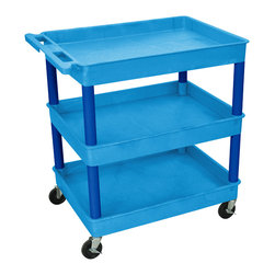 """Luxor - Luxor Transport Cart - BUTC111BU - These Luxor TC series utility carts are made of high density polyethylene structural foam molded plastic shelves and legs that won't stain, scratch, dent or rust. Features a retaining lip around the back and sides of flat shelves. Includes four heavy duty 4"""" casters, two with brake. Has a push handle molded into the top shelf."""