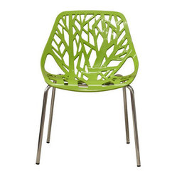 Forest Green Plastic Modern Dining Chair (set of 2)