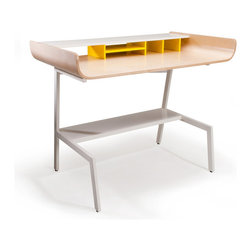 OFFI - Half Pipe Desk, Birch - Introducing the Half Pipe Desk that was inspired by the skateboard ramp of his youth. With plenty of storage, the desk will function as an office in and of itself. The hutch offers a place for your desktop items and under the desk, out of your shin's reach, there is a shelf for a small printer or books. As Eric says, A perfect ramp to launch your next project. Half Pipe Shelf are 40 �_ wide by 8 1/2.
