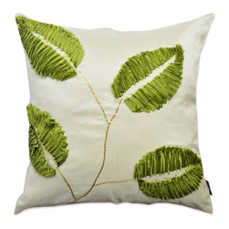 A1 Home Collections - Green-White Leaf Designer Throw Pillow - Spruce up the look of your sofa with this Green White Leaf Polyester Throw Pillow. Combine this with elegant greens to complete the look in your living space.