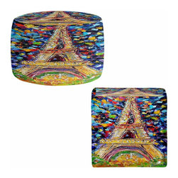 DiaNoche Designs - Ottoman Foot Stool by Karen Tarlton - Eiffel Tower at Night - Lightweight, artistic, bean bag style Ottomans. You now have a unique place to rest your legs or tush after a long day, on this firm, artistic furtniture!  Artist print on all sides. Dye Sublimation printing adheres the ink to the material for long life and durability.  Machine Washable on cold.  Product may vary slightly from image.